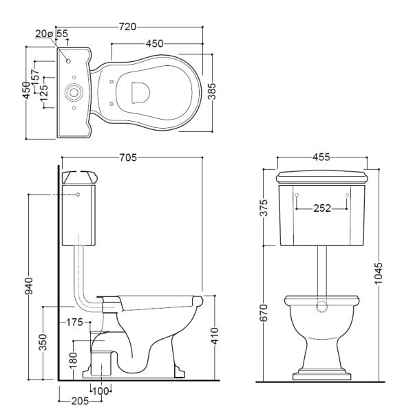 retro toilette mit sp lkasten wandh ngend badelaedchen. Black Bedroom Furniture Sets. Home Design Ideas