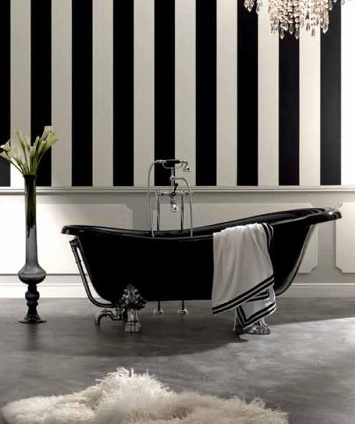 retro badewanne 1700 x 800 mm freistehend oberfl che schwarz. Black Bedroom Furniture Sets. Home Design Ideas