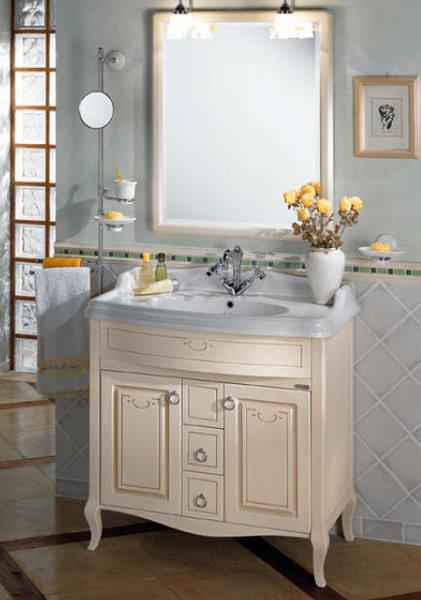old line waschtisch 90 cm mit keramik waschtisch und unterbauschrank aus holz mit dekor. Black Bedroom Furniture Sets. Home Design Ideas