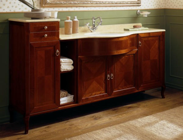 old line nostalgie waschtisch 180 cm mit unterbauschrank und marmor platte gold gelb und waschtisch. Black Bedroom Furniture Sets. Home Design Ideas