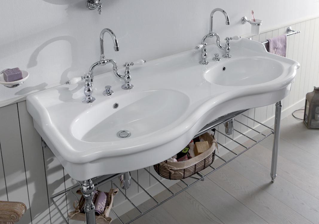 novecento nostalgie doppel waschtisch 140 cm mit. Black Bedroom Furniture Sets. Home Design Ideas