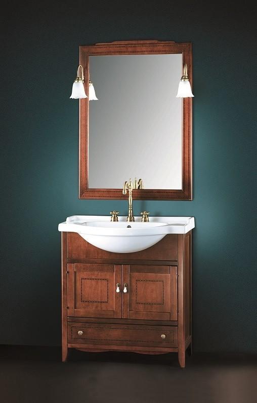 Panarea landhaus waschtisch mit holz unterschrank 70 cm for Badezimmer unterschrank holz