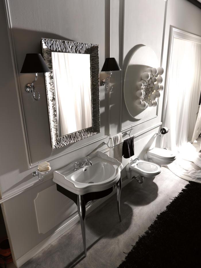 retro bad waschtisch 73 cm mit schwarz gl nzend lackiertem. Black Bedroom Furniture Sets. Home Design Ideas