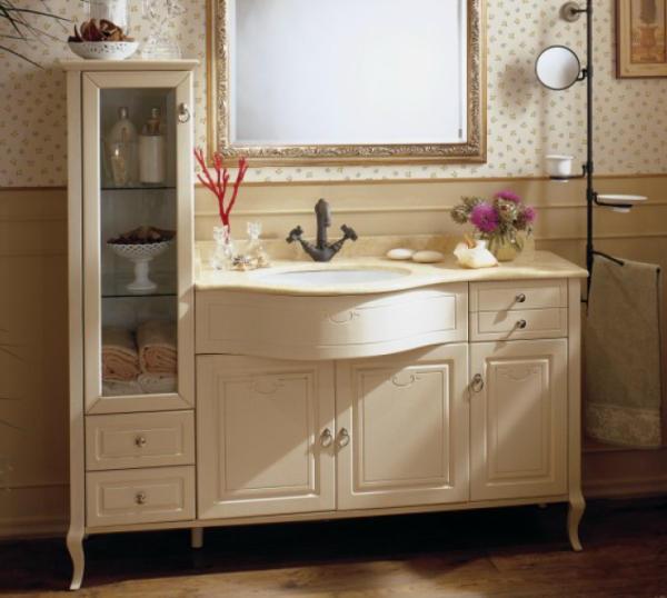 old line nostalgie waschtisch mit vitrine 151 cm lackiert mit marmor platte und waschtisch. Black Bedroom Furniture Sets. Home Design Ideas