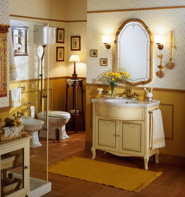 Old Line Marmor Waschtisch mit Holz Unterschrank
