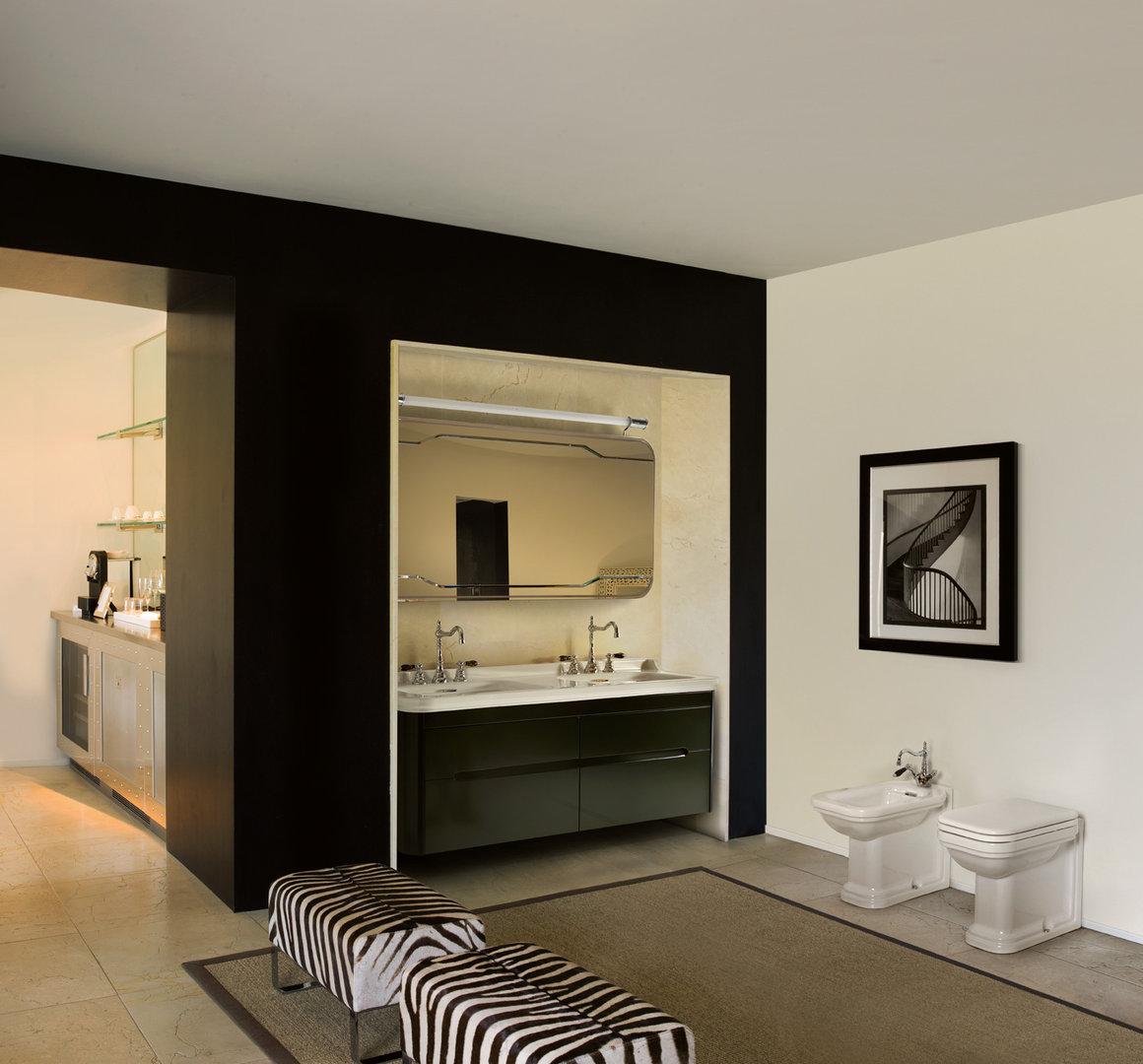 Waldorf Retro Doppel Waschtisch 150 cm mit Unterschrank - badelaedchen | {Doppelwaschtisch antik 86}