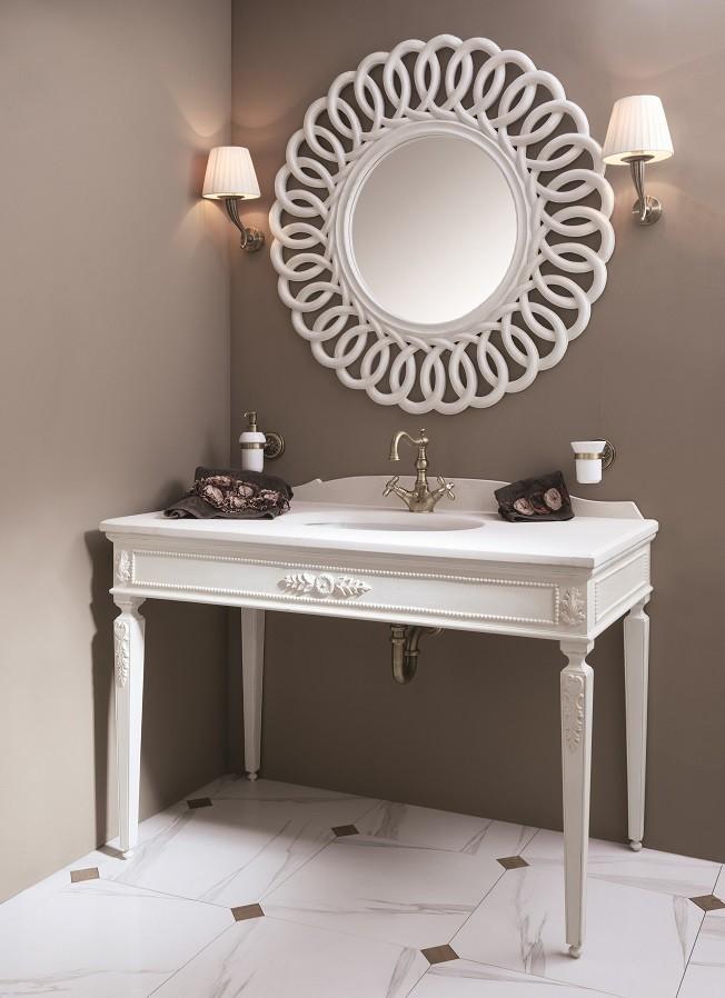 Waschtisch mit unterschrank landhausstil  Nives Landhaus Waschtisch mit Marmorplatte und Holz Unterschrank 110 cm